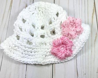 Baby hat, crochet baby hat, sun hat, summer hat, white sun hat