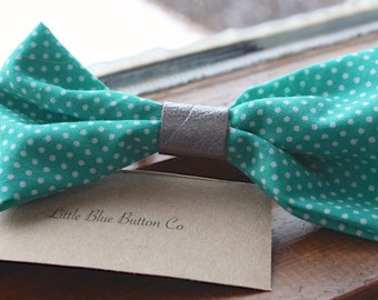 Emerald Isle Fabric and Leather Hair Clip