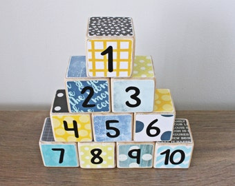 Wooden Number Blocks // 1-10 // Set of 10 // Educational Toys