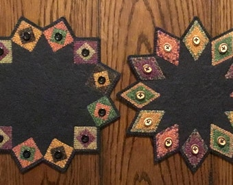 "Indian Summer ""Whatever"" Mats - Woolfelt Penny Rug ~ Decoration Mat ~ Candle Mat ~ E Pattern"