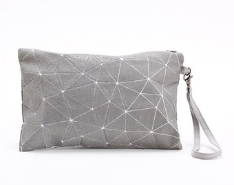 Metallic Foil Print On Fabric clutch  bag grey Print On White Fabric, Coated With Transparent Foil, Grit bag