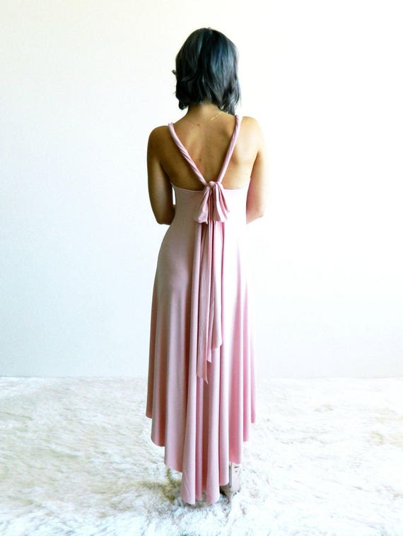 Blush Pink Fern High-Low Maxi Dress / Flowy Dress / Midi / Back Cutout / Spring Fashion / Summer Dress / Bridesmaid Dress / Resort Fashion