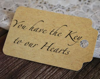Key to our Hearts, Paper Tag, Wedding Favor Tag, Paper Gift Tag, Gift Tags, Wedding Favors