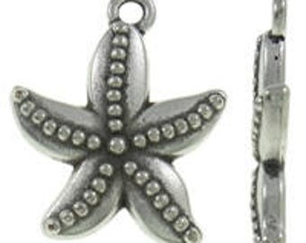 "8+pcs Silver Starfish Charms Antique Tibetan Silver Starfishes Lead FREE Nickel FREE 19x22mm 3/4"" Nautical Ocean Beach Sea Pendants DIY Jewe"