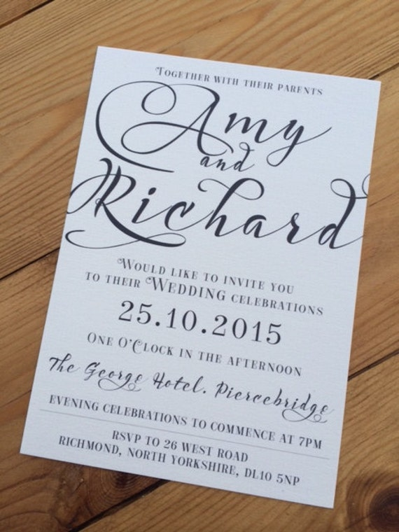 50 x Typography A6 Textured White or Rustic Brown Wedding Invitation with envelopes