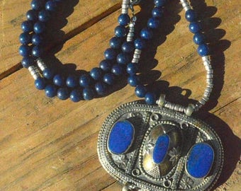 ON SALE 50% OFF Antique Pendant Egyptian Aaa Lapis Lazuli Solid sterling Silver 925,Hill Tribe Necklace Beaded Bohemian Tribal Primitive Eth