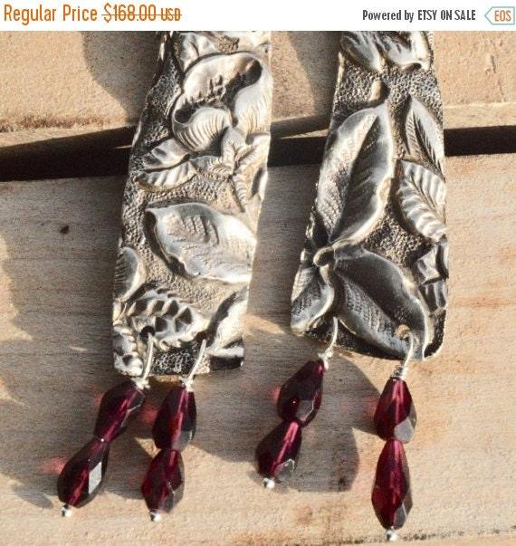 SALE 40% OFF Antique Repoussé Victorian Solid Sterling Silver Earrings 925 Rare Art Nouveau Floral .925 Natural Garnet Gemstone Drop Dangle