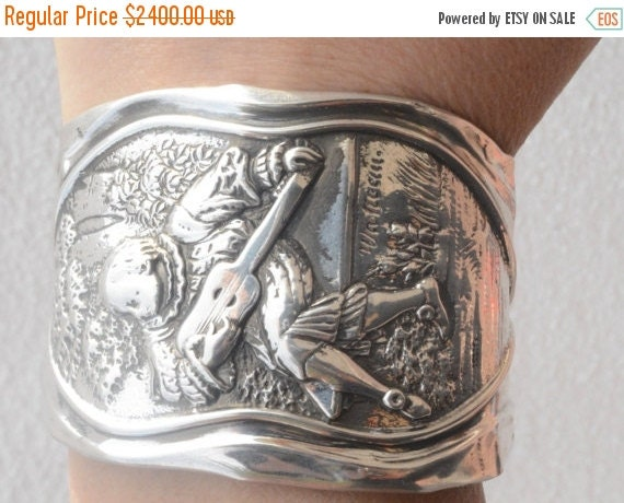"SALE 40% OFF Rare Mauser Jean Antoine Watteau ""The Serenader Guitar Player"" Art Nouveau Solid Sterling Silver 925 .925 Wide Cuff Bracelet Ba"
