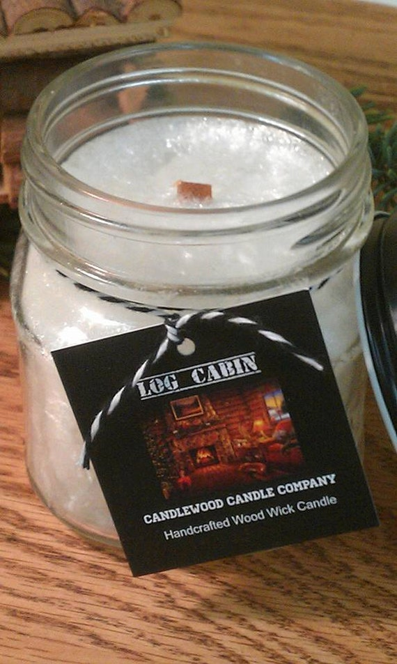 LOG CABIN  -All Natural Wax Wood Wick Candle in Apothecary Mason Jar with Black Lid 9 oz