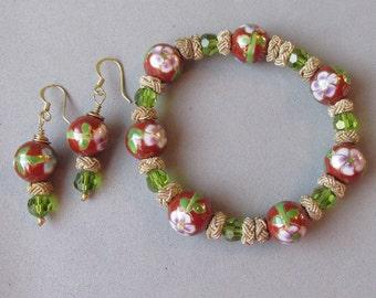 Artisan Upcycled Cloisonne & Olive Green Swarovski Crystal Stretch Bracelet, Earrings Set