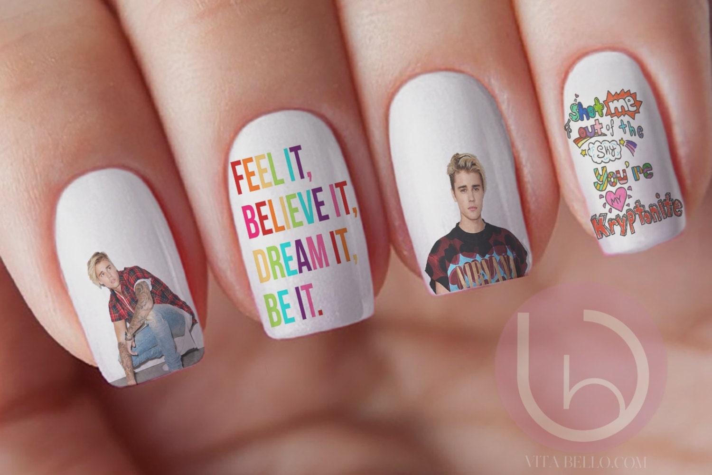 Justin bieber scrapbook ideas - Justin Bieber Waterslide Nail Decal Press On Nail Decal Nail Design Nail Art Christmas Gift Celebrity Nail Decal