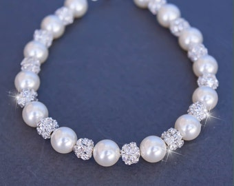50% OFF SALE Bridal Pearl Bracelet with crystals and pearls (silver or gold, white or ivory)