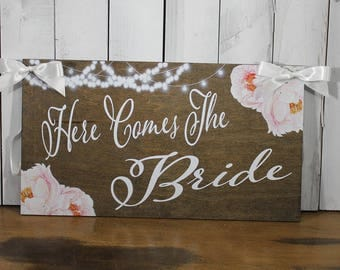 Here comes the Bride/Flowers/Peonies/String Lights/Watercolor/Reversible Options/Wedding Sign/Stained Wood
