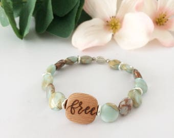 Free bracelet, woodburned bracelet, gemstone bracelet, diffuser jewelry, beaded bracelet, essential oil bracelet, beaded jewelry, Spring