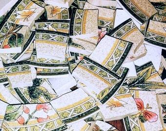 Mosaic Pieces, Mosaic Supplies, Hand Cut,, Broken China, Stoneware, Green Mosaic