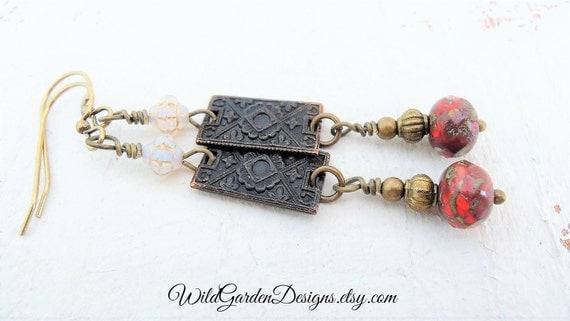 Bohemian Brass Earrings Marsala Red Czech by WildGardenDesigns