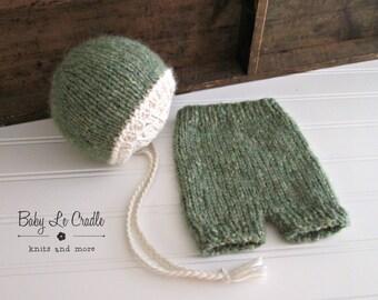 Newborn Bonnet   Set - Newborn Props - Alpaca - Green - Newborn Knit Outfit - Baby