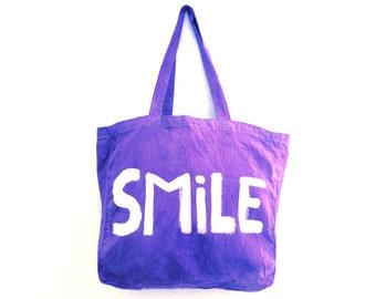 READY to SHIP Smile Happy Purple Large Shoulder Shopper Eco Tote Bag / Eve Damon