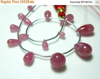 """BIGGEST SALE Mouzambique Ruby Smooth Tear Drops- 7"""" Strand -Stones measure -5x3-11x8mm"""