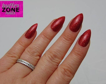 Hand Painted Press On False Nails, Red Glitter, Long Length Stiletto