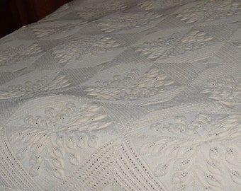 French Vintage Hand Knit Bed Coverlet Blanket  with Raised Leaf Pattern
