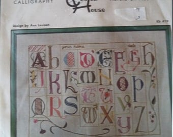 RARE Never Opened Ann Levison Calligraphy Crewel Embroidery Kit Picture or Pillow Top by Custom House Kit Number 19