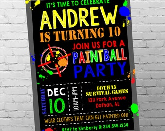 Paintball Birthday Invitation | Paintball Invitation | Paintball Party | Boy Birthday Invitation | Digital Invitation