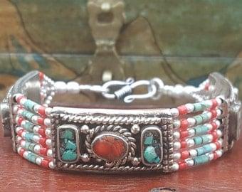 Rustic Southwestern Style Coral Turquoise Beaded Tibetan Bracelet