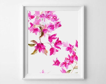 Bougainvillea watercolor, Fuchsia flowers,  Bougainvillea print