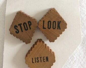 STOP LOOK LISTEN - vintage wood buttons