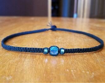 Blue Bead Necklace Blue Bead Choker Black Choker Necklace for Girls Choker Hemp Tween Girl Gifts for Girls Necklace Womens Choker Necklace