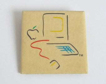 Apple computer pin, vintage Apple Macintosh memorabilia, 1980s Mac collectible,