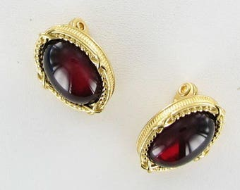 Monet red burgundy acrylic gold tone clip back earrings signed 1980s vintage
