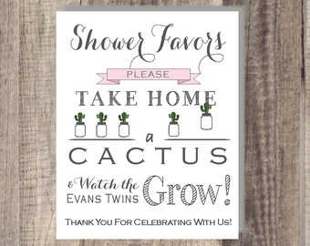 PRINTABLE - Cactus Watch Me Grow Sign- Please Take Your Favor - Cactus Baby Favor Sign
