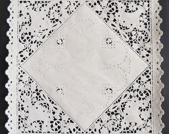 """100 - 8"""" SQUARE WHITE Paper Lace Doilies   Folded Invitations, Wedding Invitation Liners, Wedding Decoration Party Decoration, Paper Doily"""