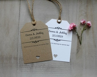 10 Wedding Thank You Tags Shabby Chic/Vintage Personalised Favours Gifts