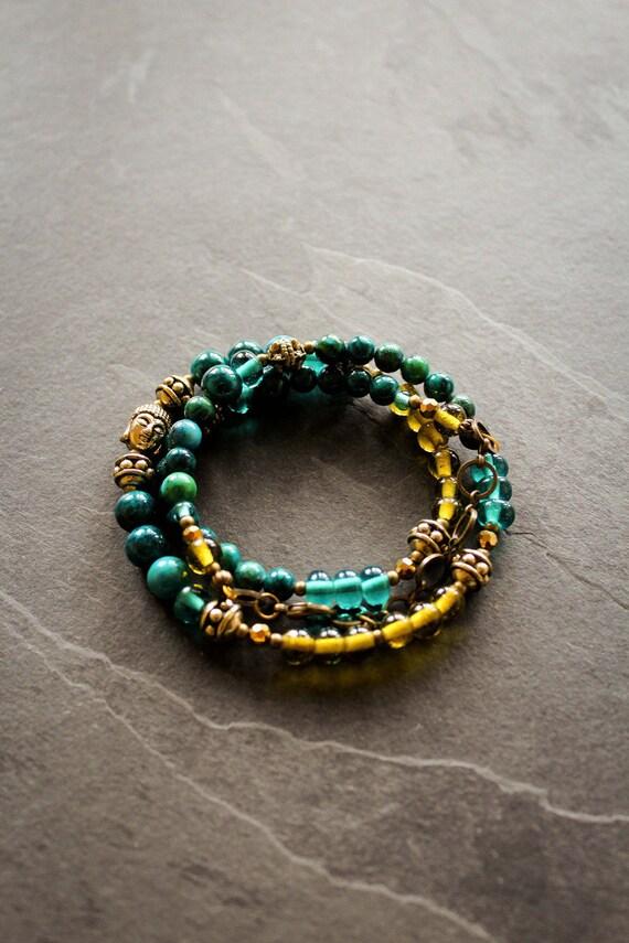 Bracelet necklace Icelandic: glass, crystal, fossil stone, chrysocolle, metal, oxidized brass, Buddha