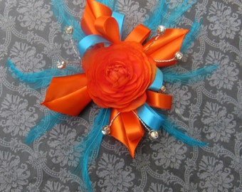 Orange and Turqouise Blue Feather Corsage, Prom corsage