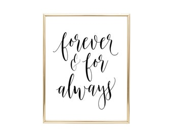 YOU PRINT PRINTABLE Wall Art Forever And For Always 8x10 Jpeg File, Christian Decor, Home Decor, Inspirational Quote