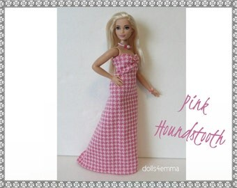 CURVY BARBIE Doll Clothes - pink houndstooth Gown and Jewelry Set - Handmade Fashion by dolls4emma