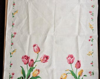 Vintage Lamont Irish Linen with Pink and yellow Tulip print table cloth