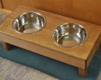 Red Oak elevated dog feeder stand, special walnut stain
