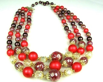 Sale 1950s Three Strand Molded Glass Necklace Marked Japan