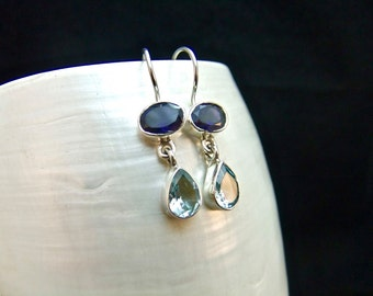Petite Iolite & Blue Topaz Sterling Silver Drop Earrings