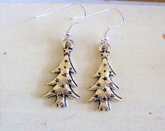 Metal tree charm earrings - Christmas tree jewelry - festive tree earrings - festive jewelry - festive Christmas tree earrings