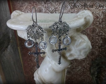 Marcasite and Miracles - Vintage Assemblage Earrings by The Altered Diva - Antique Sterling Crucifix Marcasite Rhinestones