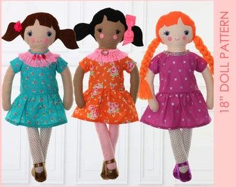 18 inch Girl Doll Pattern, Cloth doll patterns, Toy sewing pattern pdf. rag doll pattern, doll patterns, making dolls, MILLY PATTERN