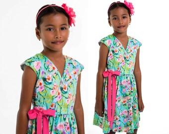 Girls Dress pattern pdf, Childrens Sewing Pattern, Dress Sewing Pattern, Wrap Dress Pattern, Sewing Pattern for Kids, TESSA DRESS