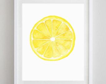 Lemon Watercolor Art Print