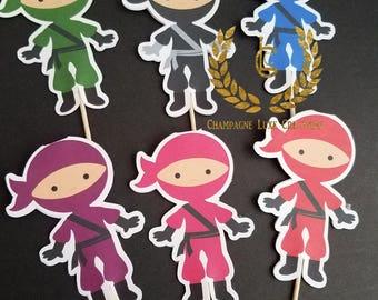 Ninja Cupcake Toppers, Ninja Toppers (Set of 12)- Ninja Cupcake Toppers, Ninja Birthday, Party Decor, Ninja Party, Ninja Cake Topper